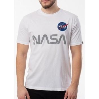Abbigliamento Uomo T-shirt maniche corte Alpha Nasa Reflective T bianco
