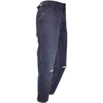 Abbigliamento Donna Jeans slim Malu Shoes Jeans donna momfit a vita alta high waist lavaggio scuro black NERO