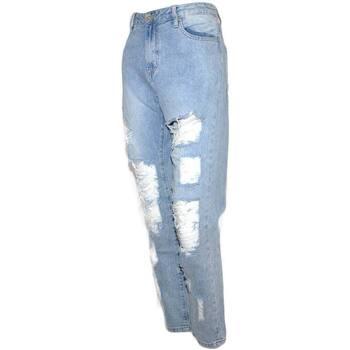 Abbigliamento Donna Jeans slim Malu Shoes Jeans donna momfit a vita alta high waist sfilacciato lavaggio BLU