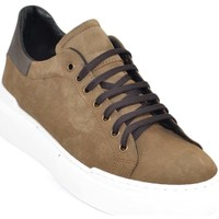 Scarpe Uomo Sneakers basse Malu Shoes Sneakers uomo bassa linea basic in vera pelle camoscio beige co MARRONE