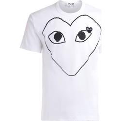 Abbigliamento Uomo T-shirt maniche corte Comme Des Garcons T-Shirt  in cotone bianco con cuore Bianco