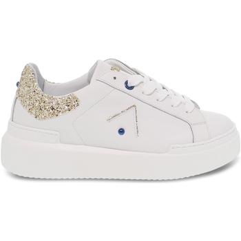 Scarpe Donna Sneakers basse Ed Parrish Sneakers  in pelle e glitter bianco e platino bianco,platino