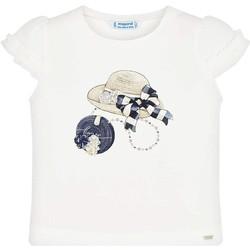 Abbigliamento Bambina T-shirt maniche corte Mayoral Kids Camiseta m/c volante manga Crd-marino beige