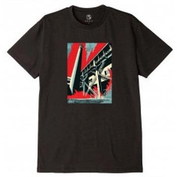 Abbigliamento T-shirt maniche corte Obey Fossil Factory T-Shirt - Black Nero