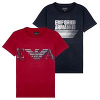 Abbigliamento Bambino T-shirt maniche corte Emporio Armani 6H4D22-4J09Z-0353 Nero / Rosso
