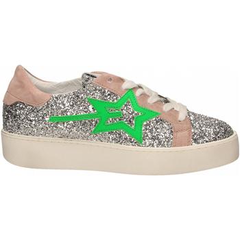 Scarpe Donna Sneakers basse Gio + + LEILA GLITTER argento-verde