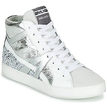 Scarpe Donna Sneakers alte Meline IN1363 Bianco / Argento
