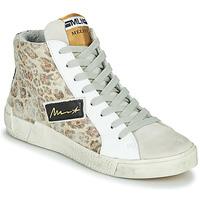 Scarpe Donna Sneakers alte Meline NK5050 Beige / Leopard