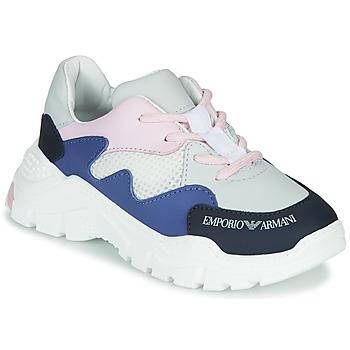 Scarpe Bambino Sneakers basse Emporio Armani XYX008-XOI34 Bianco / Blu