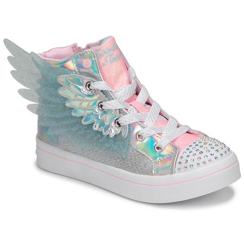 Scarpe Bambina Sneakers alte Skechers TWI-LITES 2.0 Argento / Rosa