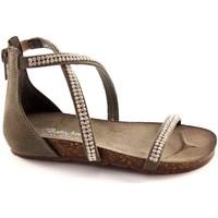 Scarpe Bambina Sandali Bottega Artigiana 3977 baby cenere sandali bambina zip tallone strass Grigio