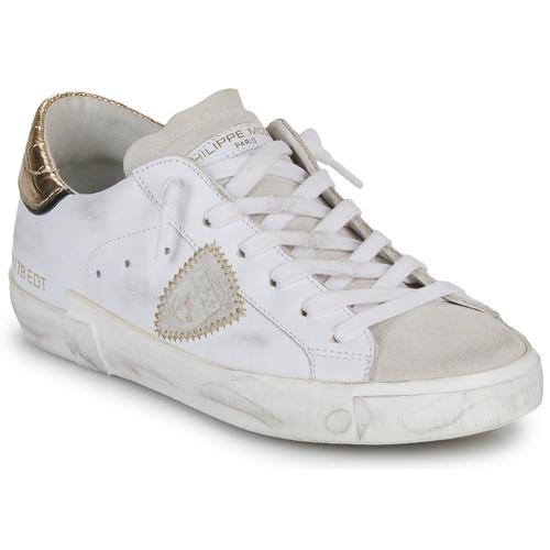 Scarpe Donna Sneakers basse Philippe Model PARIS X VEAU CROCO Bianco / Oro