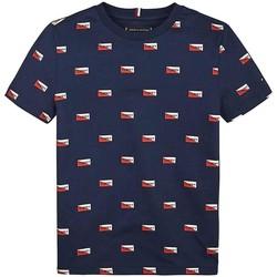Abbigliamento Bambino T-shirt maniche corte Tommy Hilfiger Kids PRINTED SHIELDS TEE blu marino