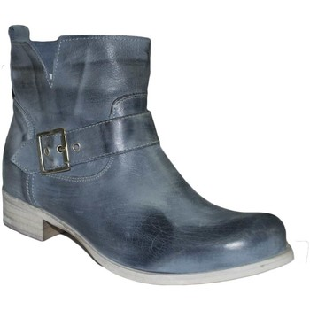 Scarpe Donna Stivaletti Malu Shoes Stivaletto donna comfort cinturino pelle liscia tortora tacco BLU