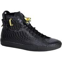 Scarpe Uomo Sneakers alte Made In Italia Stivaletto con lucchetto pelle squamata NERO