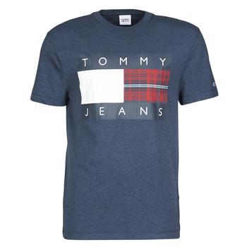 Abbigliamento Uomo T-shirt maniche corte Tommy Jeans TJM PLAID CENTRE FLAG TEE Marine