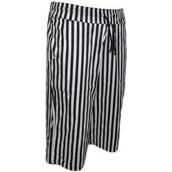 Abbigliamento Uomo Shorts / Bermuda Malu Shoes Bermuda Shorts Pantaloncini Corti Uomo Rigati Nero Righe Tasca NERO