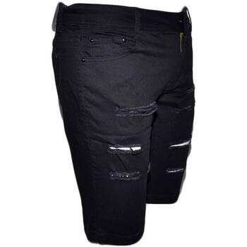 Abbigliamento Uomo Shorts / Bermuda Malu Shoes Pantaloni corti shorts pantaloncini uomo neri con strappi slim NERO