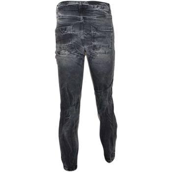 Abbigliamento Uomo Jeans slim Malu Shoes Jeans uomo nero denim lavaggio graduale slim fit a cavallo bass GRIGIO