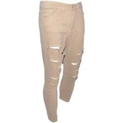 Abbigliamento Uomo Jeans slim Malu Shoes Pantaloni uomo beige camel chino con strappi slim fit in cotone BEIGE