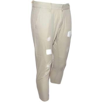 Abbigliamento Uomo Chino Malu Shoes Pantaloni jogger neri beige con bottone e tasche laterali con s BEIGE