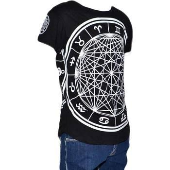 Abbigliamento Uomo T-shirt maniche corte Malu Shoes Maglia t-shirt lunga stampato uomo nera cotone maniche corte st NERO