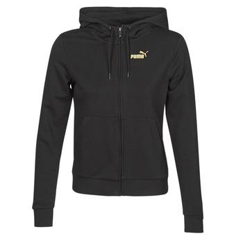 Abbigliamento Donna Giacche sportive Puma METALLIC FZ HOODY TR Nero / Dore