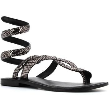 Scarpe Donna Sandali Cb Fusion scarpe donna infradito alla schiava CBF.R217037 NERO ARGENTO Pelle