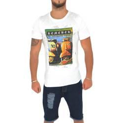 Abbigliamento Uomo T-shirt maniche corte Malu Shoes T-shirt uomo vespa in jersey di cotone con stampa colore bianco BIANCO