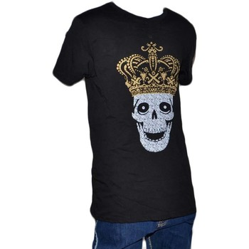 Abbigliamento Uomo T-shirt maniche corte Malu Shoes T-shirt maglia uomo teschio colore nero e oro manica corta giro NERO