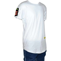 Abbigliamento Uomo T-shirt maniche corte Malu Shoes T-shirt Maglietta a maniche corte con stampa PEACE LOVE LAUGH C BIANCO