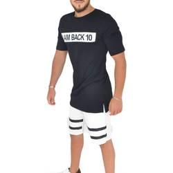 Abbigliamento Uomo T-shirt maniche corte Malu Shoes T- shirt basic uomo in cotone nero slim fit girocollo con cucit NERO