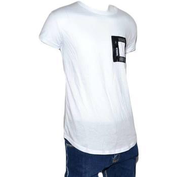 Abbigliamento Uomo T-shirt maniche corte Malu Shoes T-Shirt Uomo Mezza Manica Girocollo Cotone Girocollo Bianca Tin BIANCO