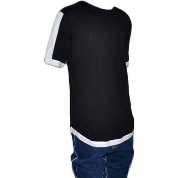 Abbigliamento Uomo T-shirt maniche corte Malu Shoes Maglietta slavata YENO061 con collo rotondo e maniche corte con NERO