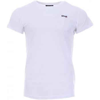 Abbigliamento Uomo T-shirt maniche corte Schott TSCREW.EMB Bianco