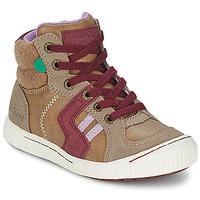 Scarpe Bambina Sneakers alte Kickers ZIGUERS Beige / BORDEAUX