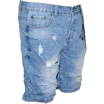 Abbigliamento Uomo Shorts / Bermuda Malu Shoes Pantoloni corti short uomo bermuda in denim jeans blu chiaro co BLU