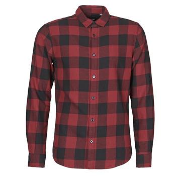 Abbigliamento Uomo Camicie maniche lunghe Only & Sons ONSGUDMUND Bordeaux / Nero