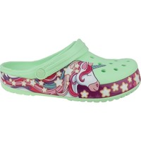 Scarpe Unisex bambino Infradito Crocs Fun Lab Unicorn Band Clog Verde,Rosa