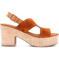 Scarpe Donna Sandali Paula Urban scarpe donna sandali con zeppa 15-287 MARRONE Pelle
