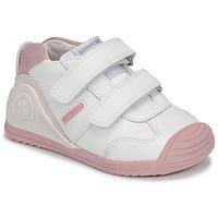 Scarpe Bambina Sneakers basse Biomecanics BIOGATEO SPORT Bianco / Rosa