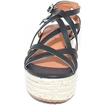 Scarpe Donna Tronchetti Malu Shoes Zeppa sandalo moda donna in ecopelle nera con fascette incrocia NERO