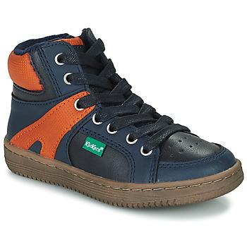 Scarpe Bambino Sneakers alte Kickers Lowell Marine / Arancio