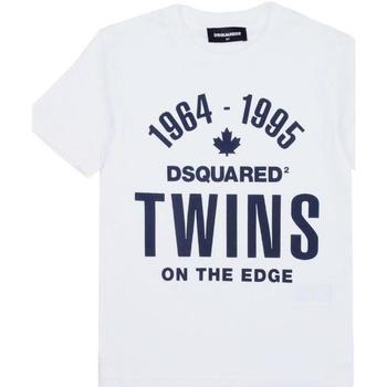 Abbigliamento Bambino T-shirt maniche corte Dsquared BLU DQ04HN-D002M Bianco
