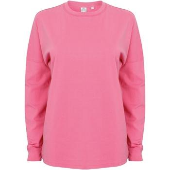 Abbigliamento Uomo Felpe Skinni Fit Slogan Rosa acceso
