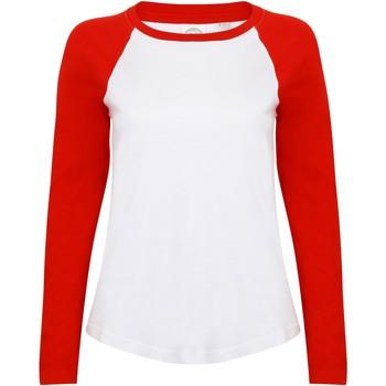 Abbigliamento Donna T-shirts a maniche lunghe Skinni Fit SK271 Bianco/Rosso