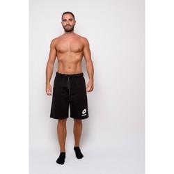 Abbigliamento Uomo Shorts / Bermuda Lotto Bermuda  In Felpina Con Stampa (ltu013-nero) Nero
