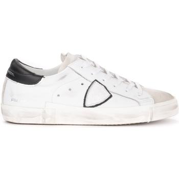 Scarpe Uomo Sneakers basse Philippe Model Sneaker Paris X in pelle bianca con spoiler nero Bianco