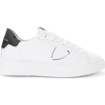 Scarpe Donna Sneakers basse Philippe Model Sneaker Temple in pelle bianca con spoiler nero e argento Bianco