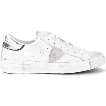 Scarpe Donna Sneakers basse Philippe Model Sneaker Paris X in pelle bianca con spoiler argento Bianco